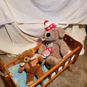 Lot # 142 - Vintage Rocking Wooden Doll Bed * Linens * Pillow * 2 Teddy Bears