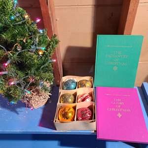 Lot # 151 - Vintage Christmas Balls Ornaments * Small Lit Christmas Tree * 2 Christmas Books