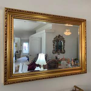 """Auction Thumbnail for: Lot #18 - Elegant Gold Tone, Beveled Glass Large Wall Mirror 42"""" x 30"""""""