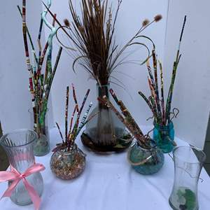Auction Thumbnail for: Lot #78 - Glass Vases Full Of Beautifully Hand Painted Branches