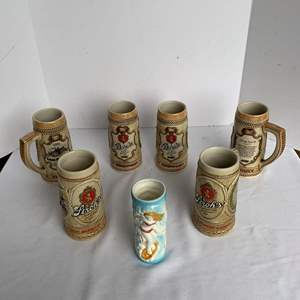 Auction Thumbnail for: Lot #121 - Hawaiian Surfer Girl Wahine Tiki Mug & Vintage Numbered  Stroh's Beer Steins