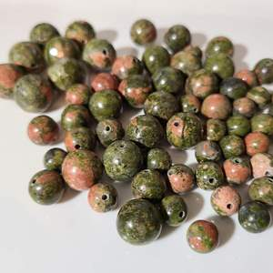 Lot # 11 - Semi-Precious Unikite Stone Beads * Olive Green & Pink Tones