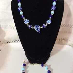 Lot # 19 - Blue Lampwork Bead Matching Necklace & Bracelet * Sterling Silver Beads * Swarovski Crystal