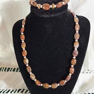 Lot # 53 - Pietersite & Pearl Necklace & Bracelet Set * $$$