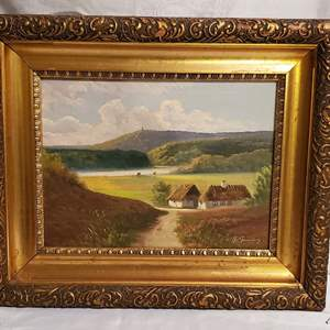 Auction Thumbnail for: Lot #23 - Signed Oil on Canvas Landscape Painting with Opulent Gold Frame