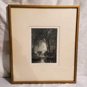 """Auction Thumbnail for: Lot #34 - """"The Drove at the Ford"""" Photo Print of 19th Century Artwork by James M. Hart"""