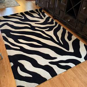 Auction Thumbnail for: Lot #8 - Zebra Print Floor Rug, Measures 95x60