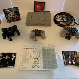 Auction Thumbnail for: Lot #74 - Vintage Original Sony Playstation with Lunar 2 Complete Game, Controllers and More