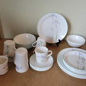 Auction Thumbnail for: Lot #80 - Corelle Shadow Iris Pattern Dinner Set for Eight