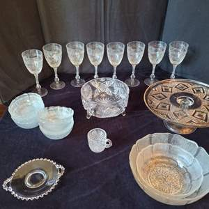 Auction Thumbnail for: Lot #93 - Set of 8 Cut and Etched Crystal Goblets, Heavy Crystal Bowl, Dessert Set and More