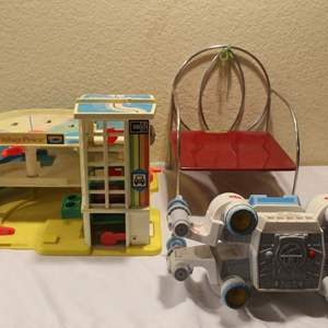Auction Thumbnail for: Lot #34 - Vintage Fisher-Price Little People Garage, Jack-n-Jill Kiddie Chair & Star Wars X-Wing Fighter