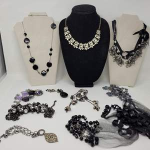 Auction Thumbnail for: Lot #72 - Classic Black & White Costume Necklaces