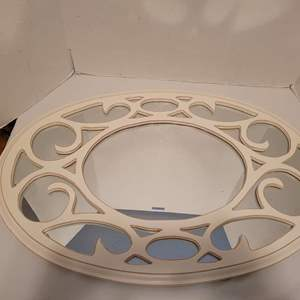 Auction Thumbnail for: Lot #40 - Beautiful White Oval Wood Wall Mirror 29.5x19.5
