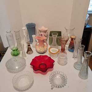 Auction Thumbnail for: Lot #64 - Beautiful Vintage Hull Pottery Vase, More Vintage & Newer Vases, Bowls