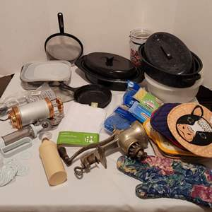 Auction Thumbnail for: Lot #73 - Kitchen: Vintage Universal Meat Grinder, Lodge Cast Iron Pan, Bakers, Tupperware, Hot Pads, More