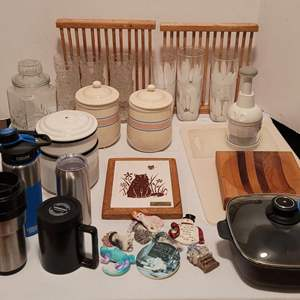 Auction Thumbnail for: Lot #75 - Swiss Diamond Pan, 4 Ceramic Canisters, Vintage Enamel Ware Double Boiler, Tile Trivet and Much More