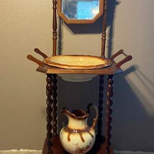 Auction Thumbnail for: Lot #4 - Antique Style Wash Stand, Bowl & Pitcher, Towel Racks and Flip Mirror