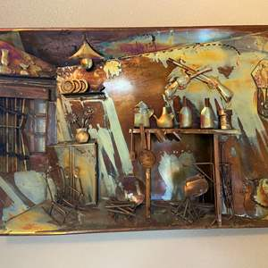 Auction Thumbnail for: Lot #59 - 3-D Metal and Copper Depiction of Old Kitchen