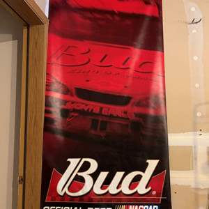 Auction Thumbnail for: Lot #85 - Nascar Official Bud Beer Vinyl  Hanging Sign