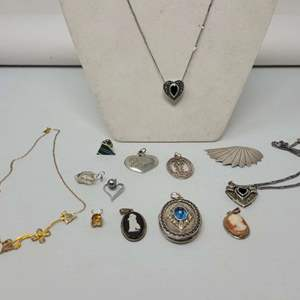 Auction Thumbnail for: Lot #67 - Wedgewood Cameo, Unmarked Cameo and Assortment of Pendants, Some with Chains