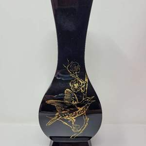 Auction Thumbnail for: Lot #236 - Baccarat Black Onyx Lotus Art Glass Vase Gold BIrds