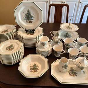 Lot #30- Christmastime by Nikko, Octagon Dish Set with Serving Bowl, Platter, Cr & Sugar, Tiered Dessert.