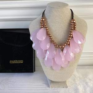 """Lot #117- Joan Rivers Double Strand Pink Faceted Teardrop 16"""" Necklace, NIB, HSN"""
