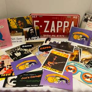 Auction Thumbnail for: Lot #216 - Frank Zappa Memorabilia, Post Cards, License Plate, Patches