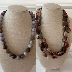Lot #10- Designer Multi Tone Stone Bead Necklaces, One has Sterling Clasp