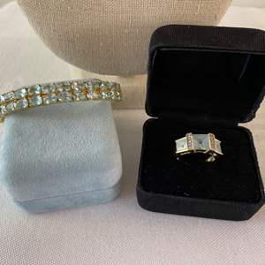 Lot #89- 14K Gold Ring with Square Cut Stones, size 6, 4.2g wt. - Gorgeous Gold Tone Bracelet Stamped ADI 925.