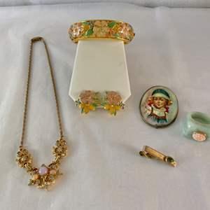 Lot #114- Quartz Ring with Carved Flower & 14K - Vintage Russian Brooch, Shields Tie Clip - Joan R. Jewelry - Fancy Necklace