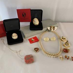 Lot #115- Italian Cameo Pin w/14K Gold - Cameo Pin w/925 - Vintage Jewelry - Sterling Designer Statement Ring - Pendants - more