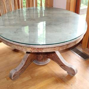 """Lot #2 - Vintage Oak 42"""" Round Pedestal Dining Table, Unfinished, with Glass Top"""