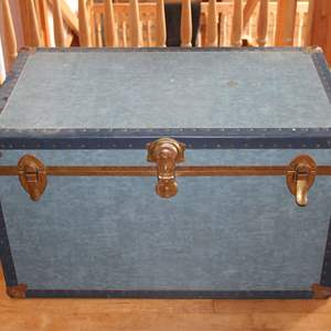 Lot #3 - Vintage Trunk with Brass Corners, Leather Straps. Vinyl? Surface. Contents NOT Included