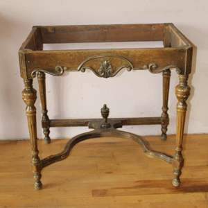 Lot #4 - Antique Side Table with Turned Legs. No Top Surface
