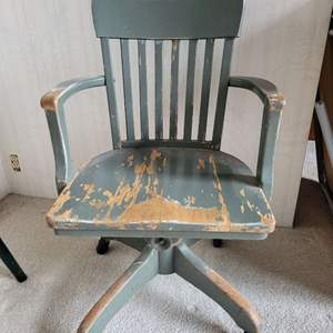 Lot #12 - Vintage Painted Wood Office Chair