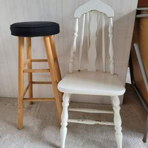 Lot #14 - Vintage Painted Chair and Padded Bar Height Stool