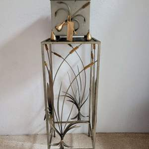 Lot #15 - Metal Plant Stand with Two Matching Plant Pots