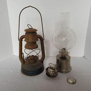 Lot #16 - Vintage Dietz Lantern and Oil Lamp with Glass Hurricane