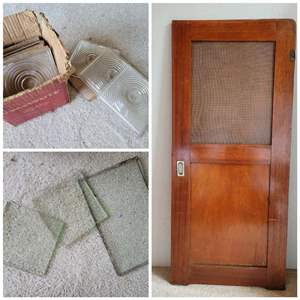 Lot #20 - Vintage Wood Door with Screen and Glass Tiles and Glass Pieces Various Sizes