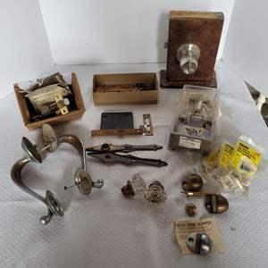 Lot #38 - Vintage Glass Door Nobs, Lock Set, Entry Way Handles and More