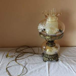 Lot #39 - Vintage Etched Glass Hurricane Oil Lamp
