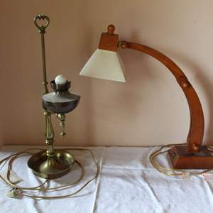 Lot #40 - Two Vintage Table Lamps: Wood Arc and Brass