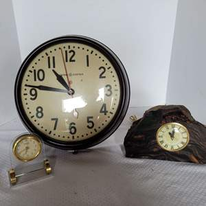 Lot #42 - Vintage Stone Slab Plug-In Clock, General Electric School Clock and Danbury Desk Clock