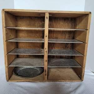 Lot #44 - Vintage Wood Best Pie Co. Shelf with Galvanized Shelves