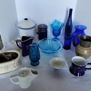 Lot #50 - Home Decor: Vases, Pottery Basket, Coffee Canisters and More