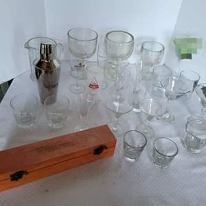 Lot #52 - Warren Boxed Shotglasses, Beer Glasses, Goblets, Drink Shaker