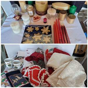 Lot #60 - Christmas Candles and Holders, Christmas Tree Skirts, Santa Wall Hanging and Linens