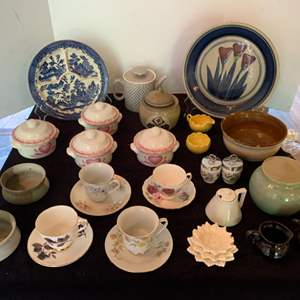 Lot #62 - Bone China Cups & Saucers: Harleigh, Royal Vale, Austria. Moriayama Blue Plate, Pottery and China Pieces