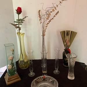 Lot #63 - Gorham Crystal Bowl, Austria and Various Glass Bud Vases